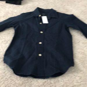 Boys gap dark blue linen button down dress shirt